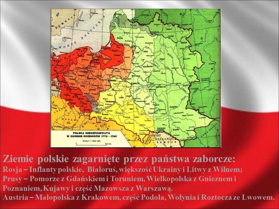 Ziemie polskie zagarnięte przez państwa zaborcze:
