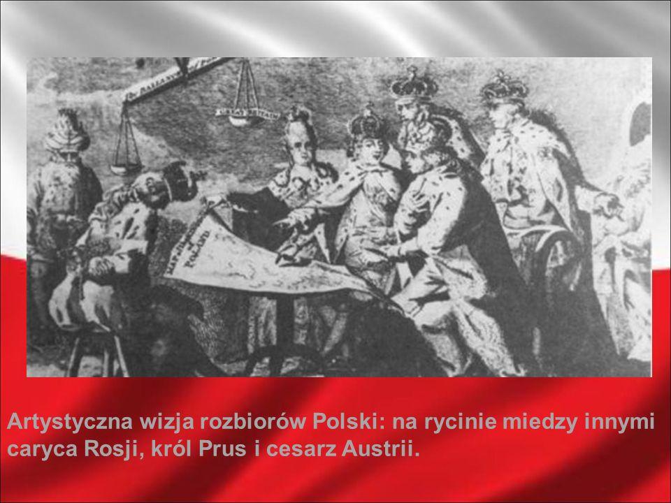 Artystyczna wizja rozbiorów Polski: na rycinie miedzy innymi caryca Rosji, król Prus i cesarz Austrii.