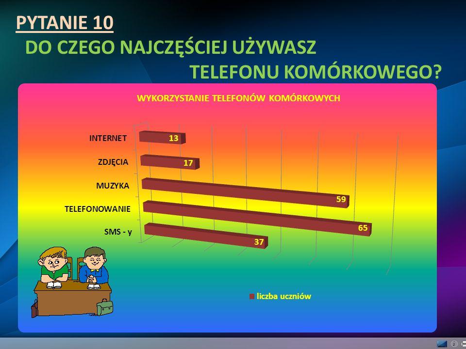PYTANIE 10 DO CZEGO NAJCZĘŚCIEJ UŻYWASZ TELEFONU KOMÓRKOWEGO