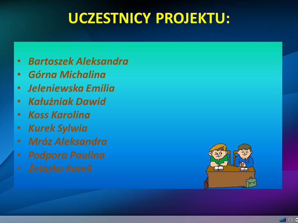 UCZESTNICY PROJEKTU: Bartoszek Aleksandra Górna Michalina