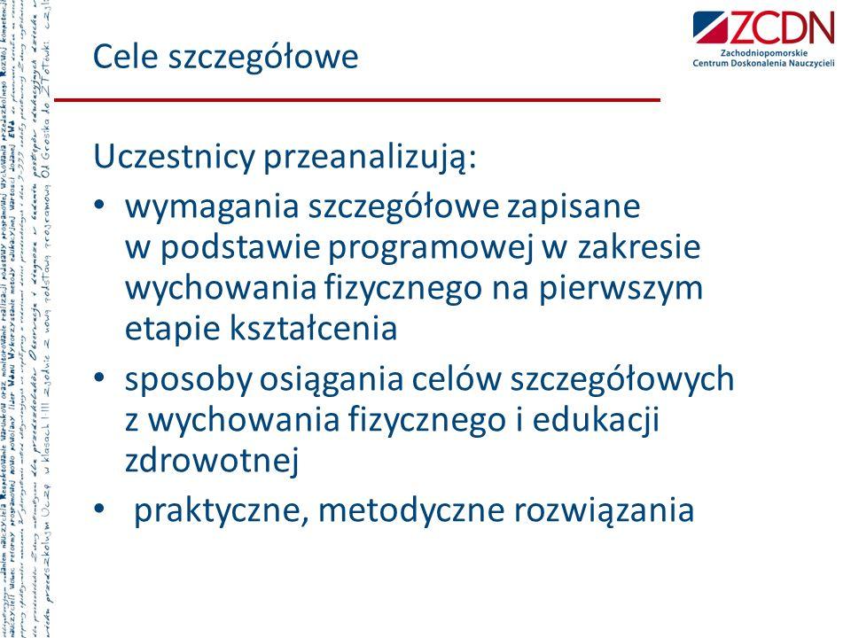 Cele szczegółowe Uczestnicy przeanalizują: