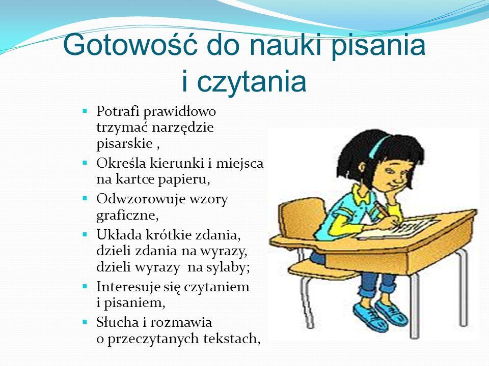 Gotowość do nauki pisania i czytania