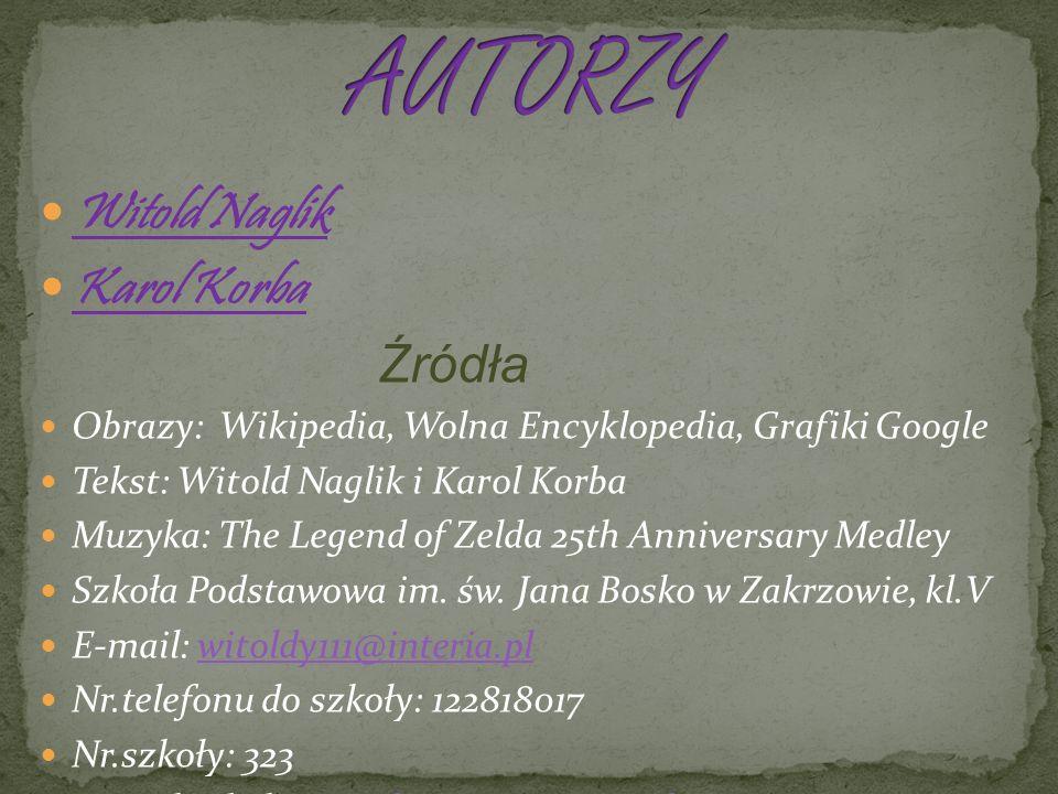 AUTORZY Witold Naglik Karol Korba Źródła