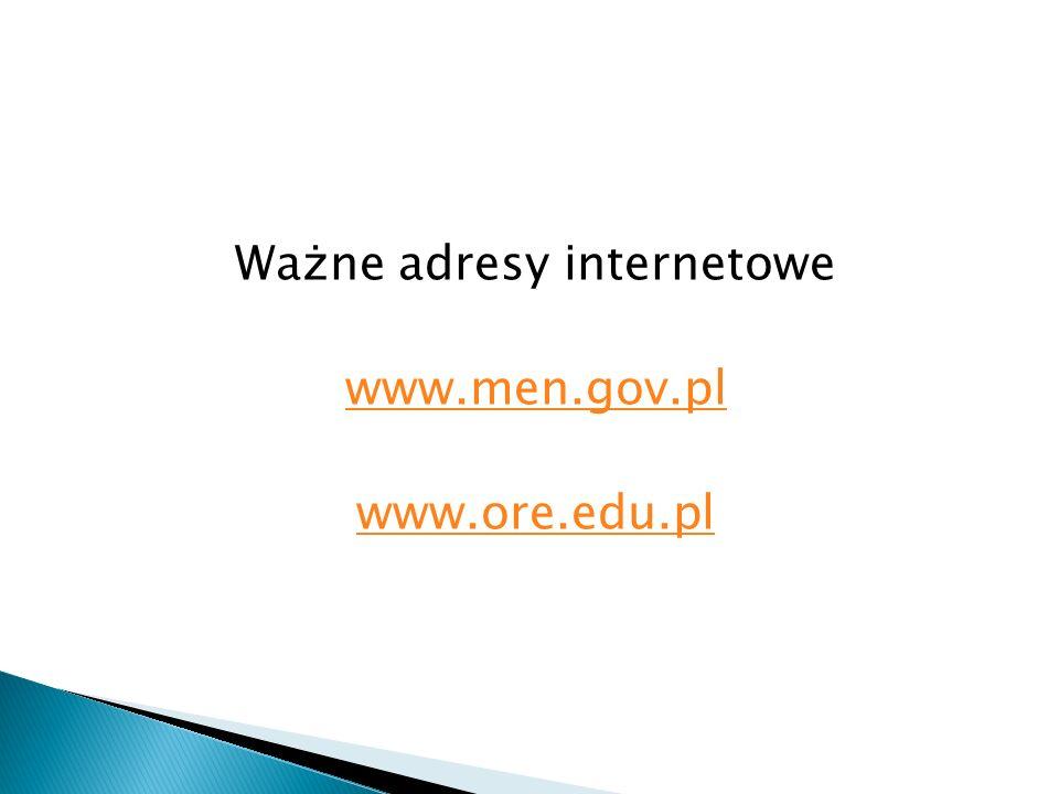 Ważne adresy internetowe www.men.gov.pl www.ore.edu.pl