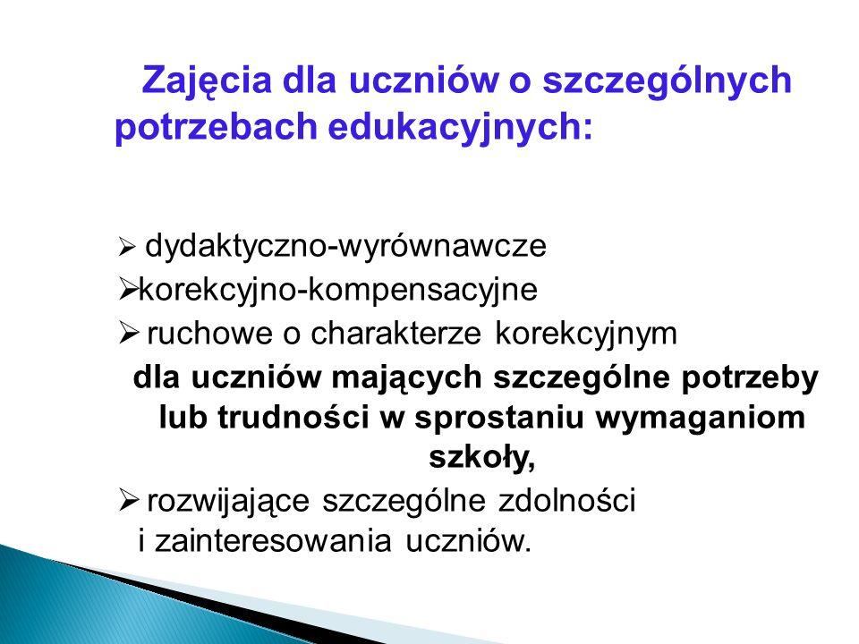 Zajęcia dla uczniów o szczególnych potrzebach edukacyjnych: