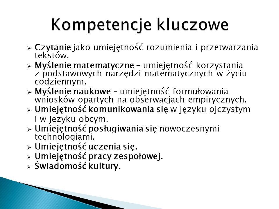 Kompetencje kluczowe Czytanie jako umiejętność rozumienia i przetwarzania tekstów.