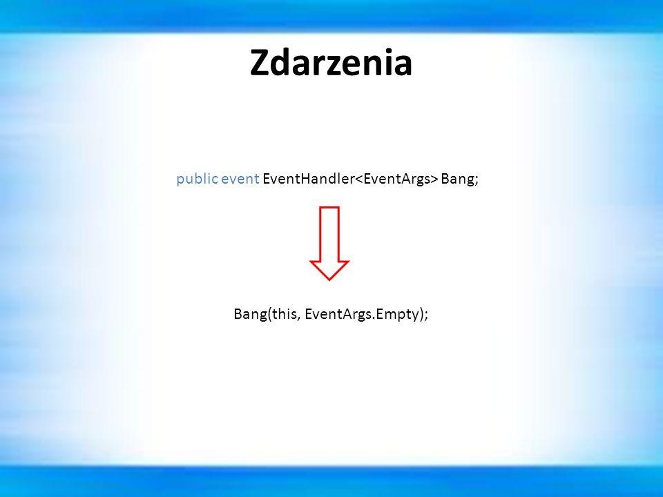 Zdarzenia public event EventHandler<EventArgs> Bang;