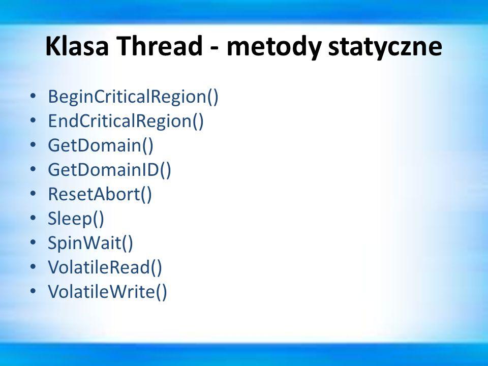 Klasa Thread - metody statyczne
