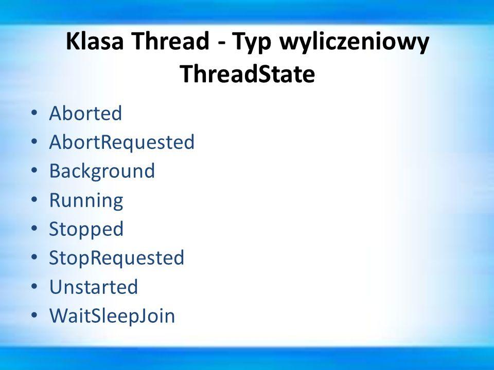 Klasa Thread - Typ wyliczeniowy ThreadState