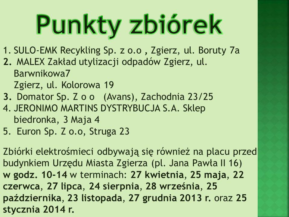 Punkty zbiórek SULO-EMK Recykling Sp. z o.o , Zgierz, ul. Boruty 7a