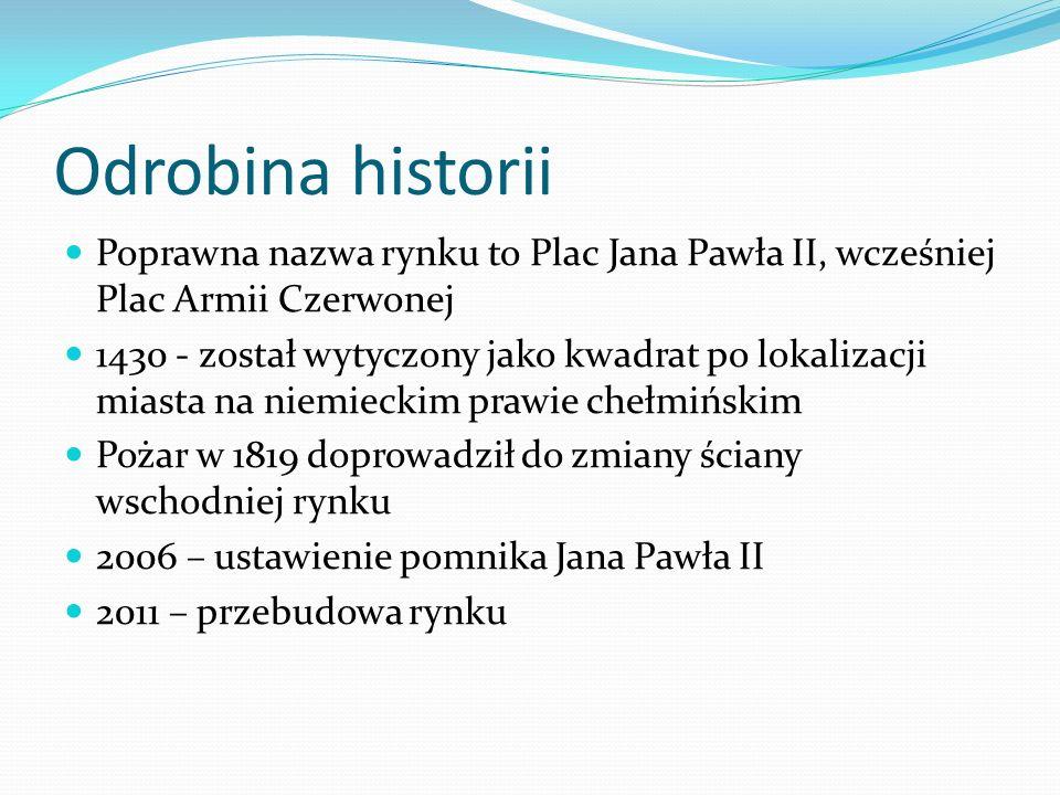 Odrobina historii Poprawna nazwa rynku to Plac Jana Pawła II, wcześniej Plac Armii Czerwonej.