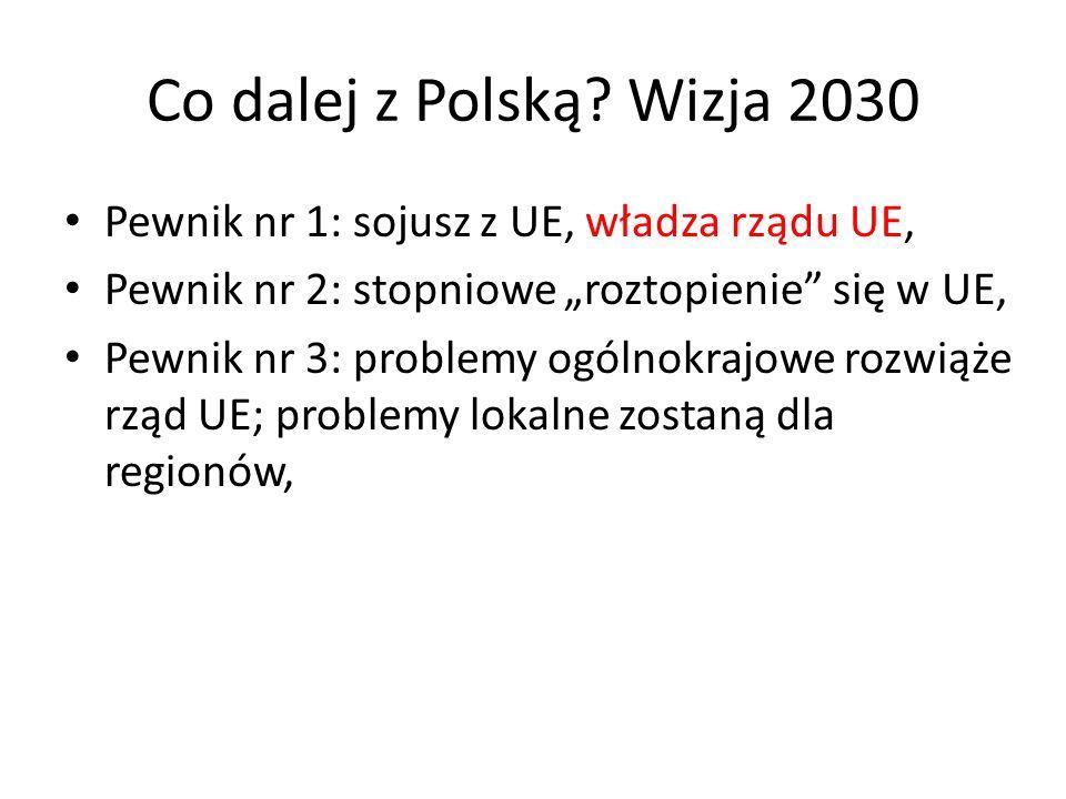 """Co dalej z Polską Wizja 2030 Pewnik nr 1: sojusz z UE, władza rządu UE, Pewnik nr 2: stopniowe """"roztopienie się w UE,"""