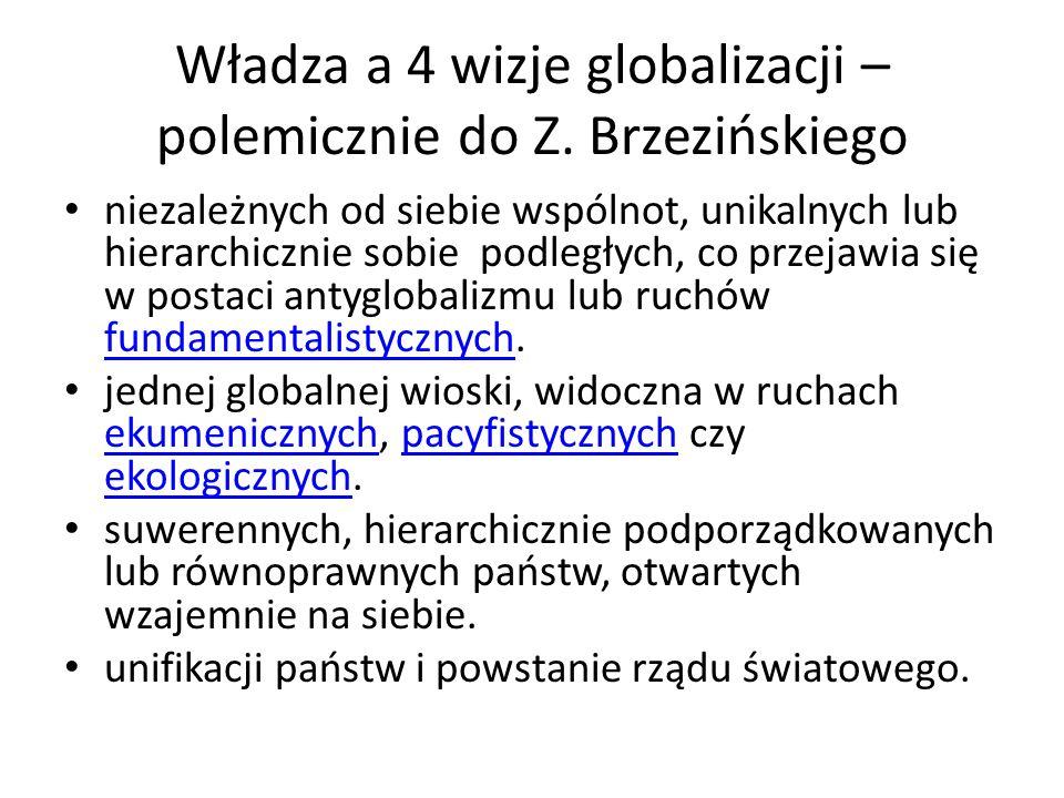 Władza a 4 wizje globalizacji – polemicznie do Z. Brzezińskiego