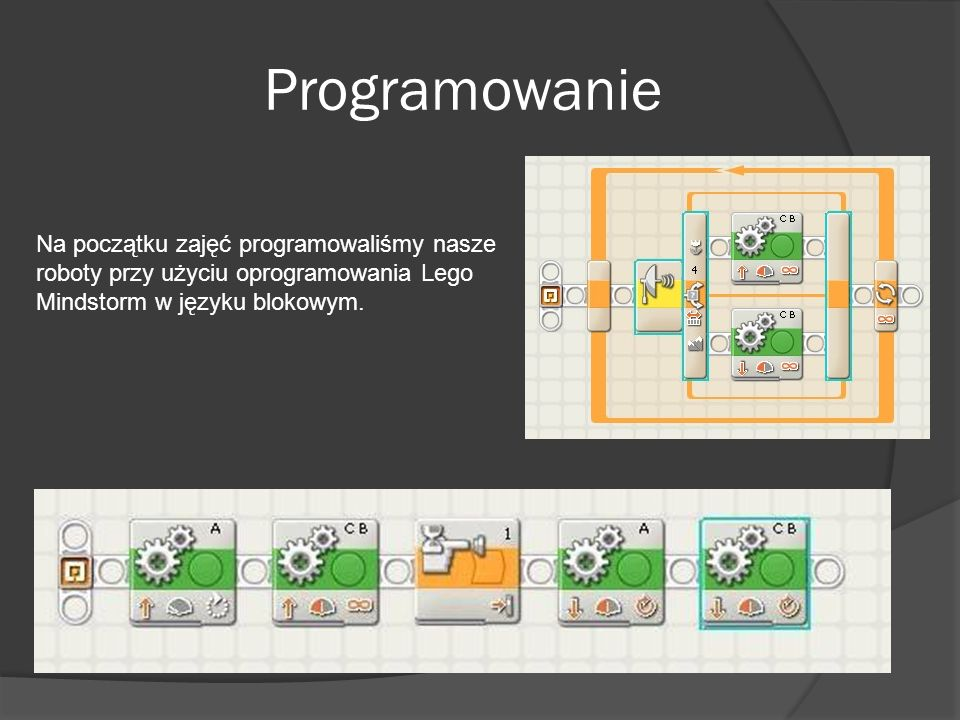 Programowanie Na początku zajęć programowaliśmy nasze roboty przy użyciu oprogramowania Lego Mindstorm w języku blokowym.