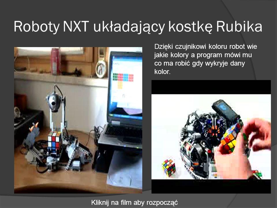 Roboty NXT układający kostkę Rubika