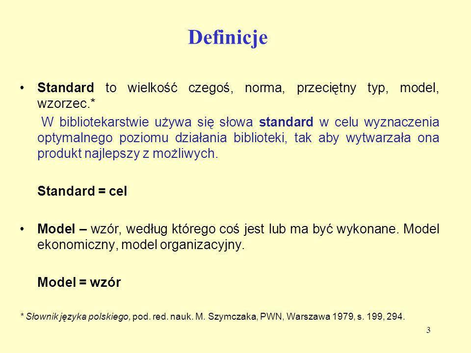 Definicje Standard to wielkość czegoś, norma, przeciętny typ, model, wzorzec.*