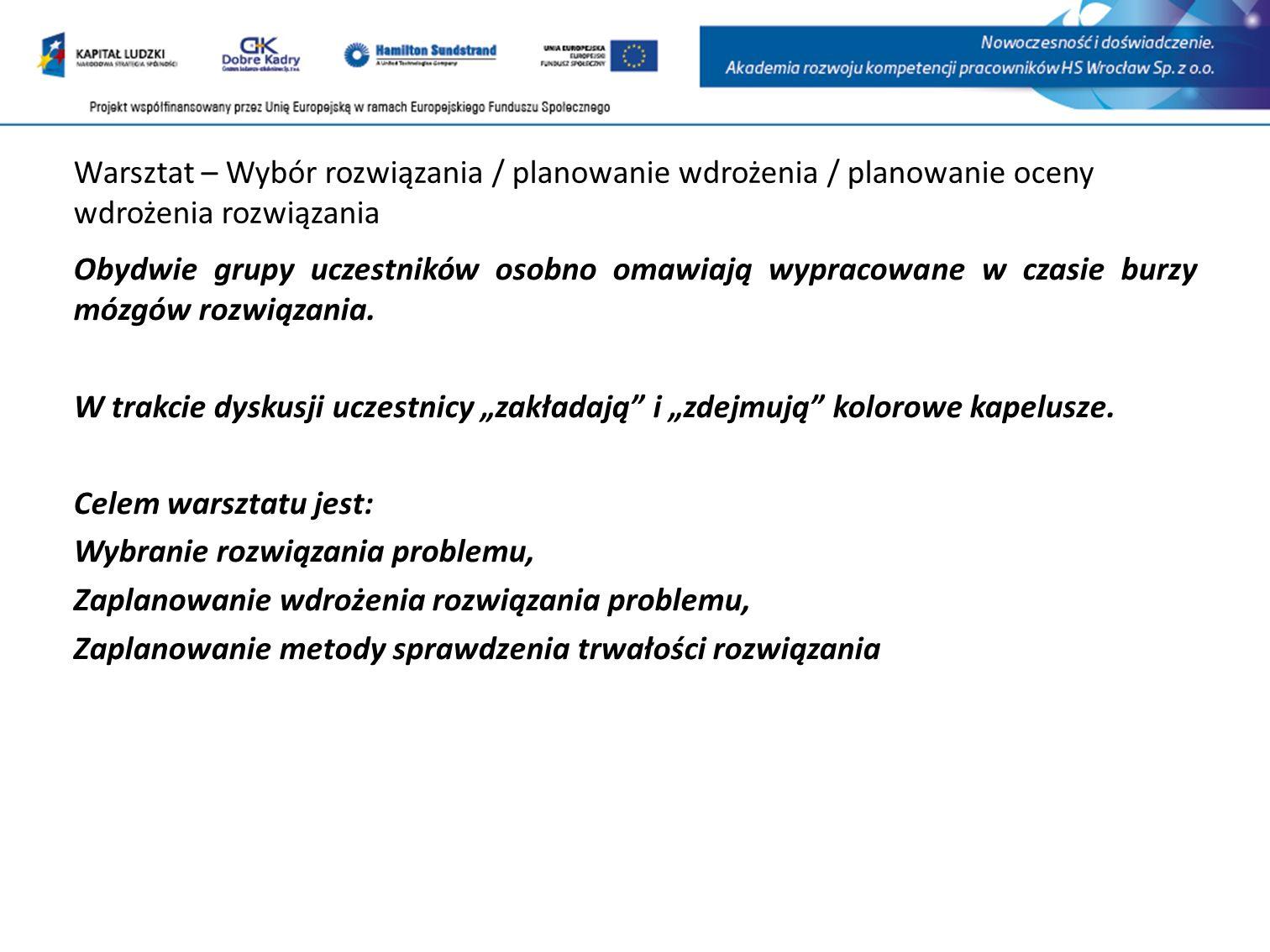 Warsztat – Wybór rozwiązania / planowanie wdrożenia / planowanie oceny wdrożenia rozwiązania
