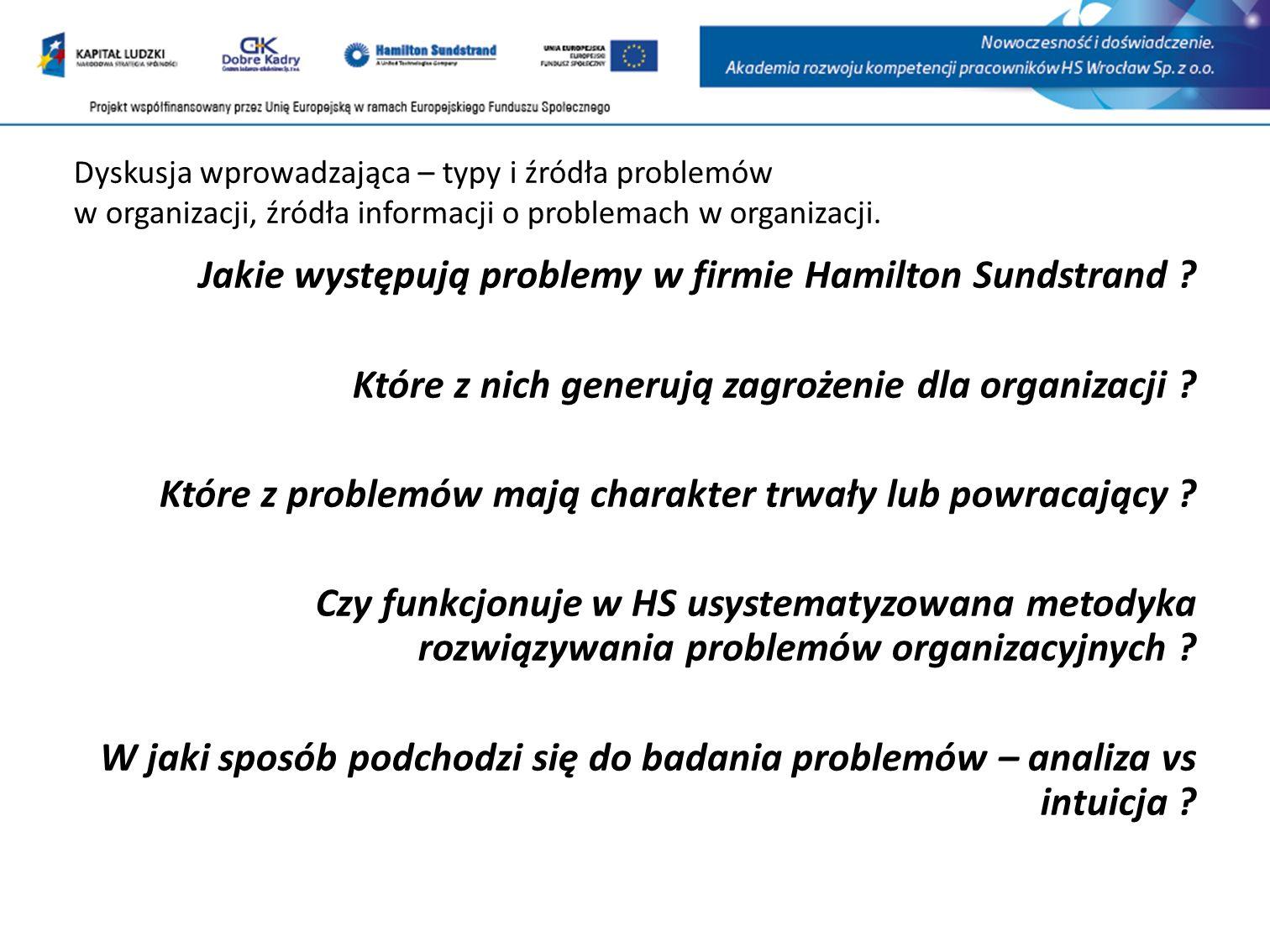 Dyskusja wprowadzająca – typy i źródła problemów w organizacji, źródła informacji o problemach w organizacji.