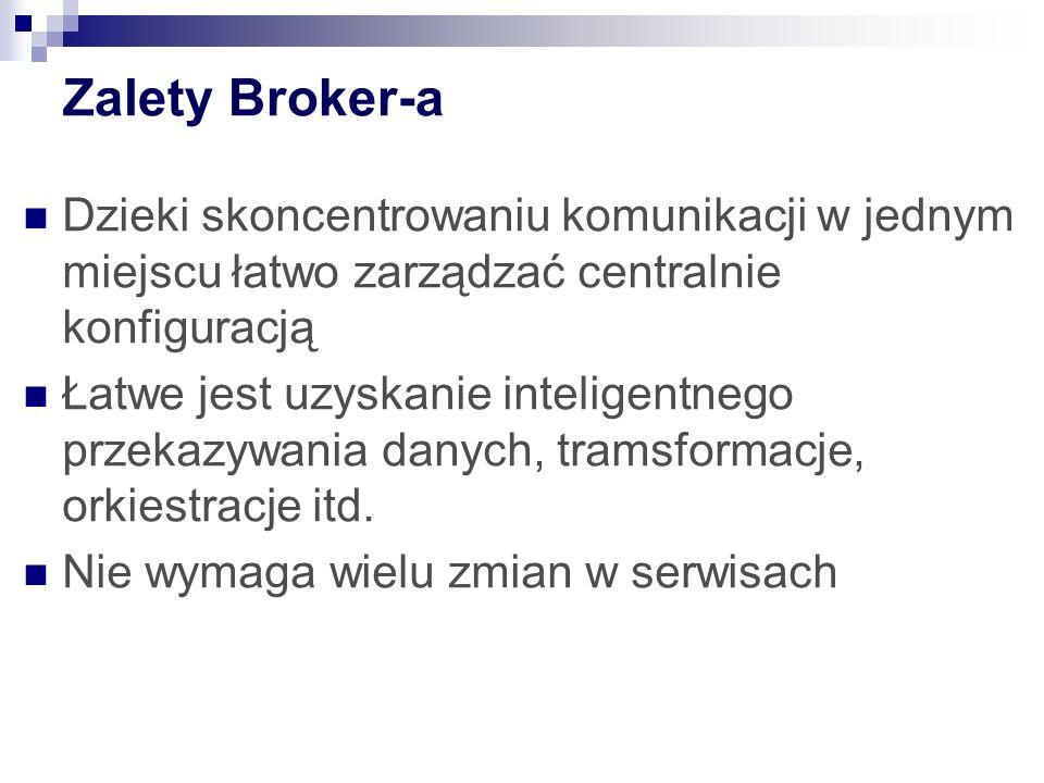 MGB 2003 Zalety Broker-a. Dzieki skoncentrowaniu komunikacji w jednym miejscu łatwo zarządzać centralnie konfiguracją.