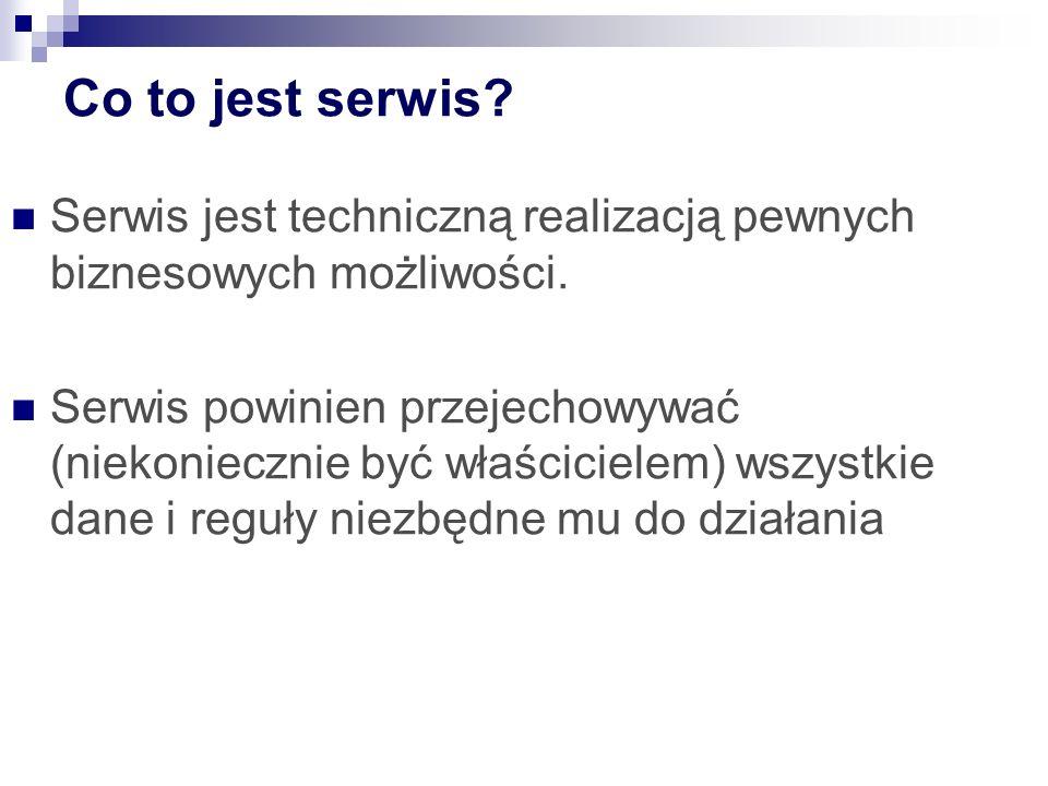 MGB 2003 Co to jest serwis Serwis jest techniczną realizacją pewnych biznesowych możliwości.