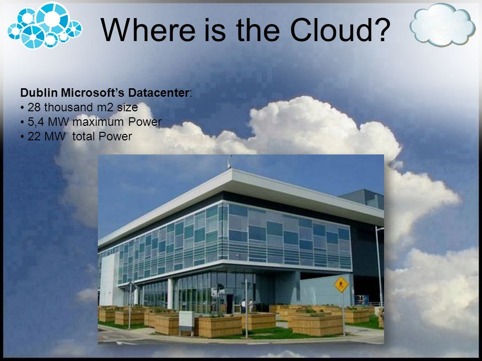Where is the Cloud Dublin Microsoft's Datacenter: 28 thousand m2 size
