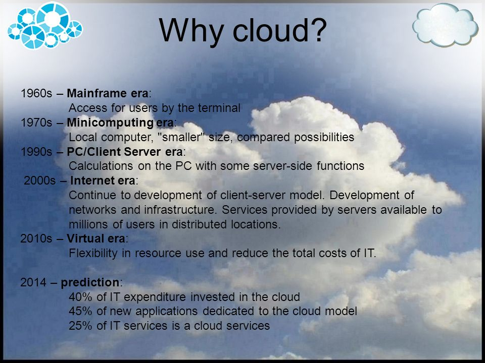 Why cloud 1960s – Mainframe era: Access for users by the terminal
