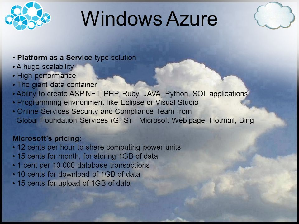 Windows Azure Platform as a Service type solution A huge scalability