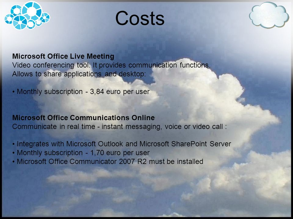 Costs Microsoft Office Live Meeting