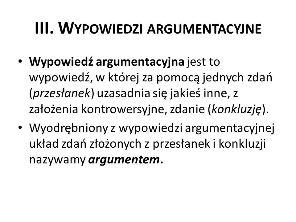 III. Wypowiedzi argumentacyjne