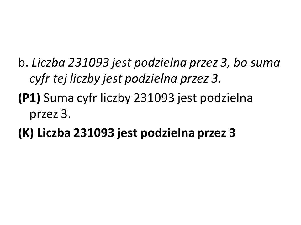 b. Liczba 231093 jest podzielna przez 3, bo suma cyfr tej liczby jest podzielna przez 3.