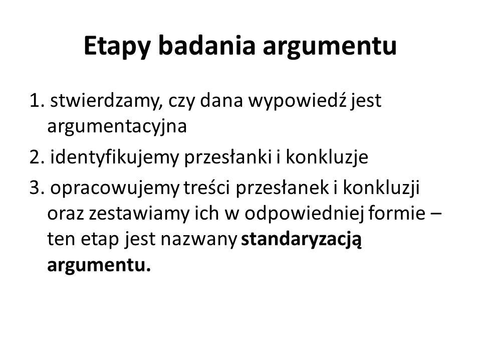 Etapy badania argumentu