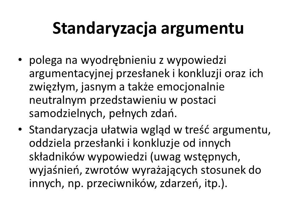Standaryzacja argumentu