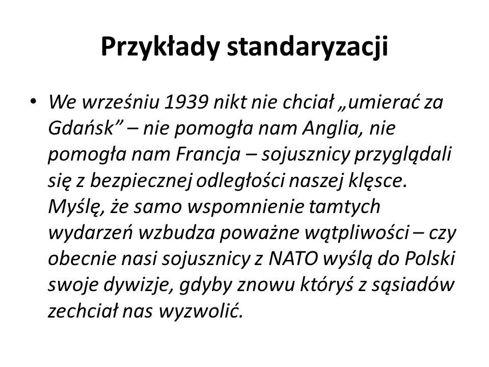 Przykłady standaryzacji
