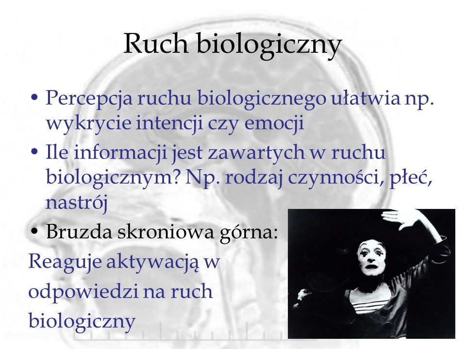 Ruch biologiczny Percepcja ruchu biologicznego ułatwia np. wykrycie intencji czy emocji.