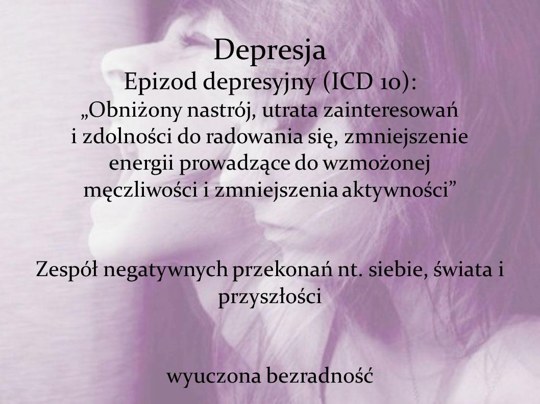 Depresja Epizod depresyjny (ICD 10):