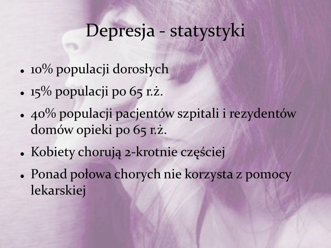 Depresja - statystyki 10% populacji dorosłych 15% populacji po 65 r.ż.