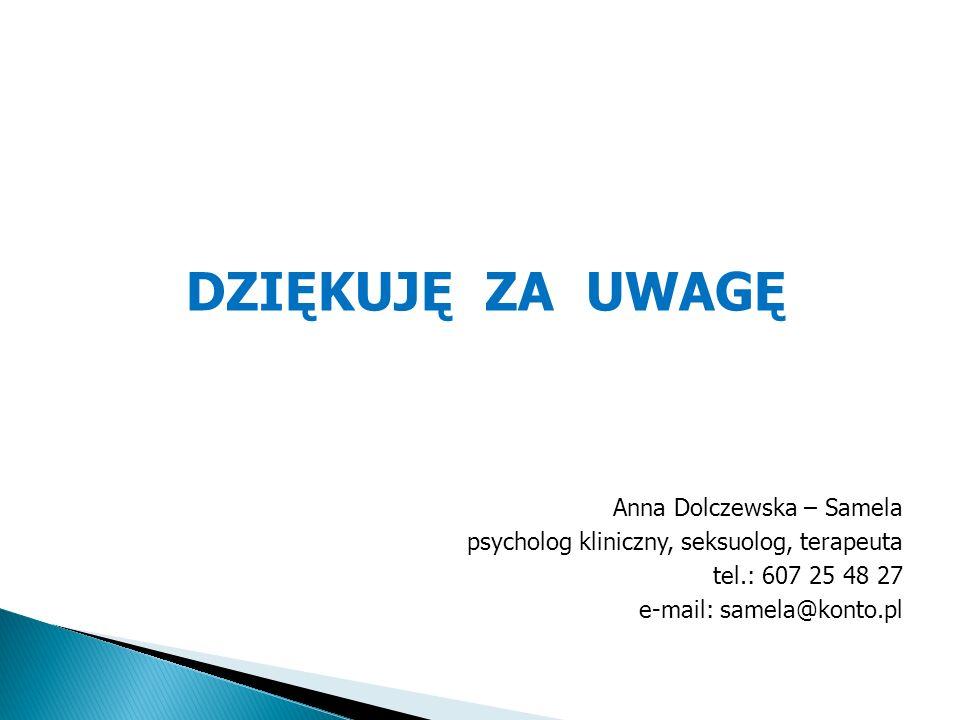 DZIĘKUJĘ ZA UWAGĘ Anna Dolczewska – Samela