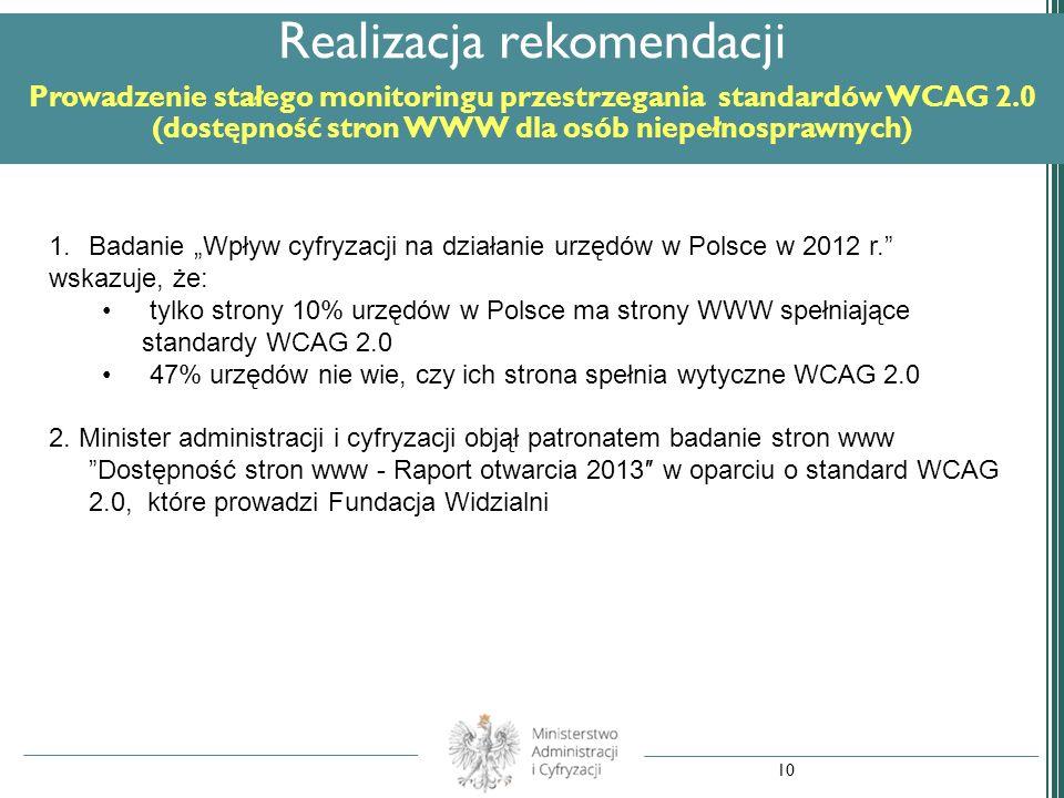 Realizacja rekomendacji Prowadzenie stałego monitoringu przestrzegania standardów WCAG 2.0 (dostępność stron WWW dla osób niepełnosprawnych)