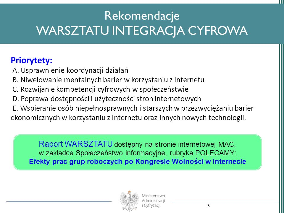 Rekomendacje WARSZTATU INTEGRACJA CYFROWA
