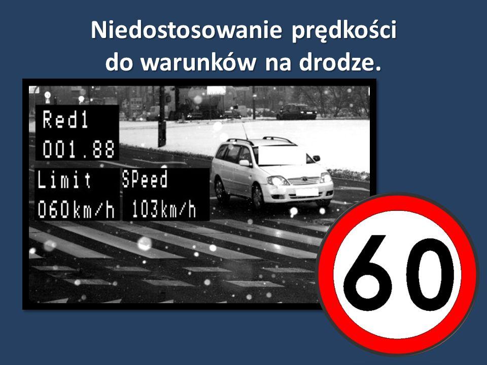 Niedostosowanie prędkości do warunków na drodze.
