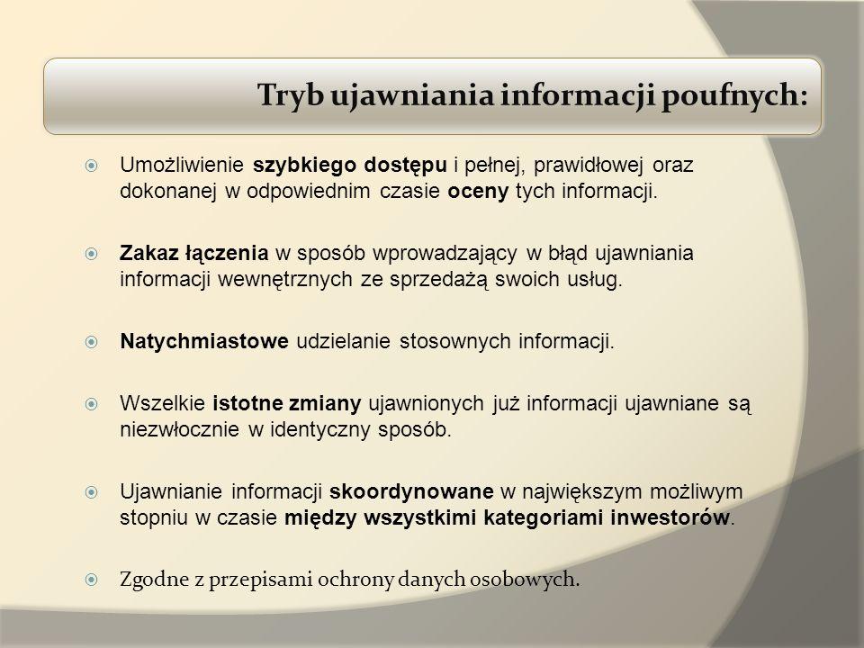 Tryb ujawniania informacji poufnych: