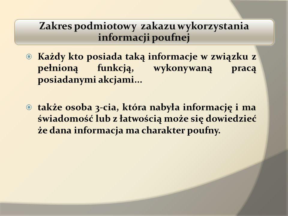 Zakres podmiotowy zakazu wykorzystania informacji poufnej