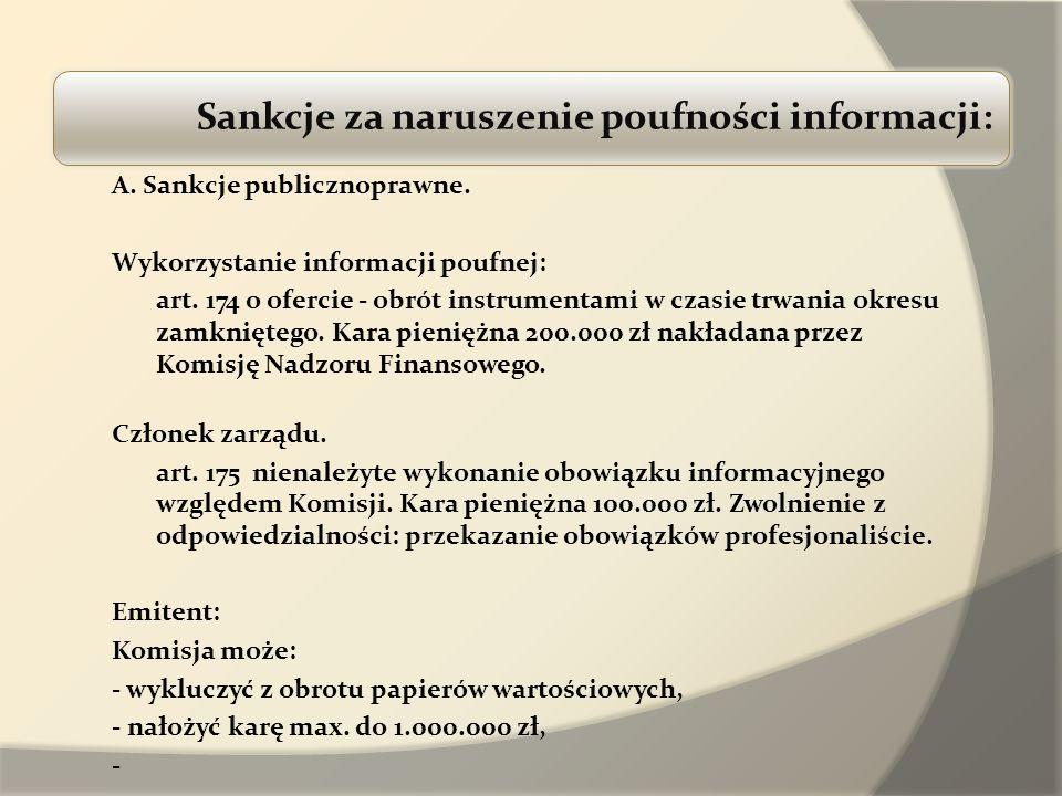 Sankcje za naruszenie poufności informacji: