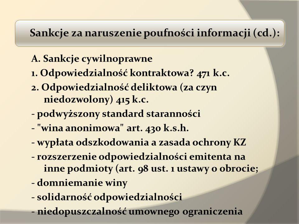 Sankcje za naruszenie poufności informacji (cd.):