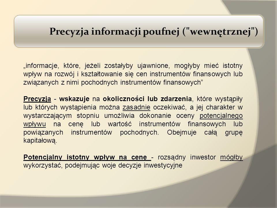 Precyzja informacji poufnej ( wewnętrznej )