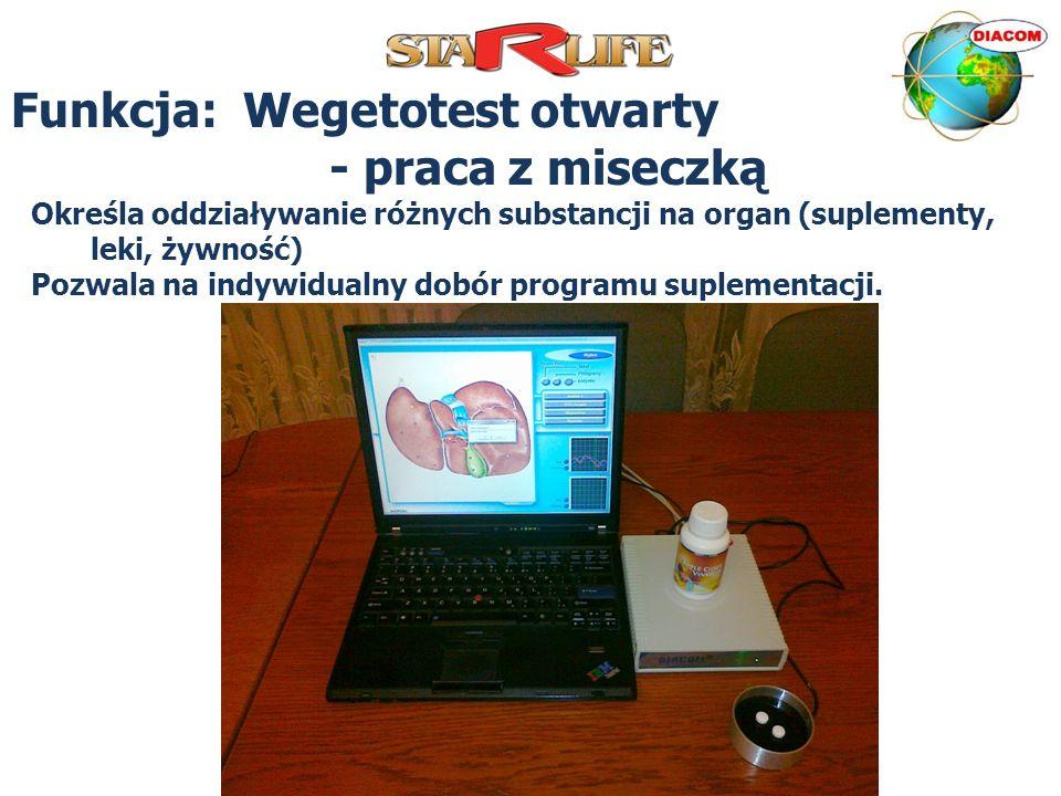 Funkcja: Wegetotest otwarty - praca z miseczką