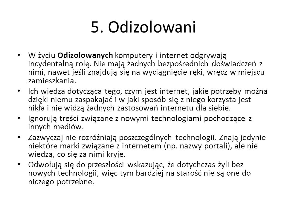 5. Odizolowani