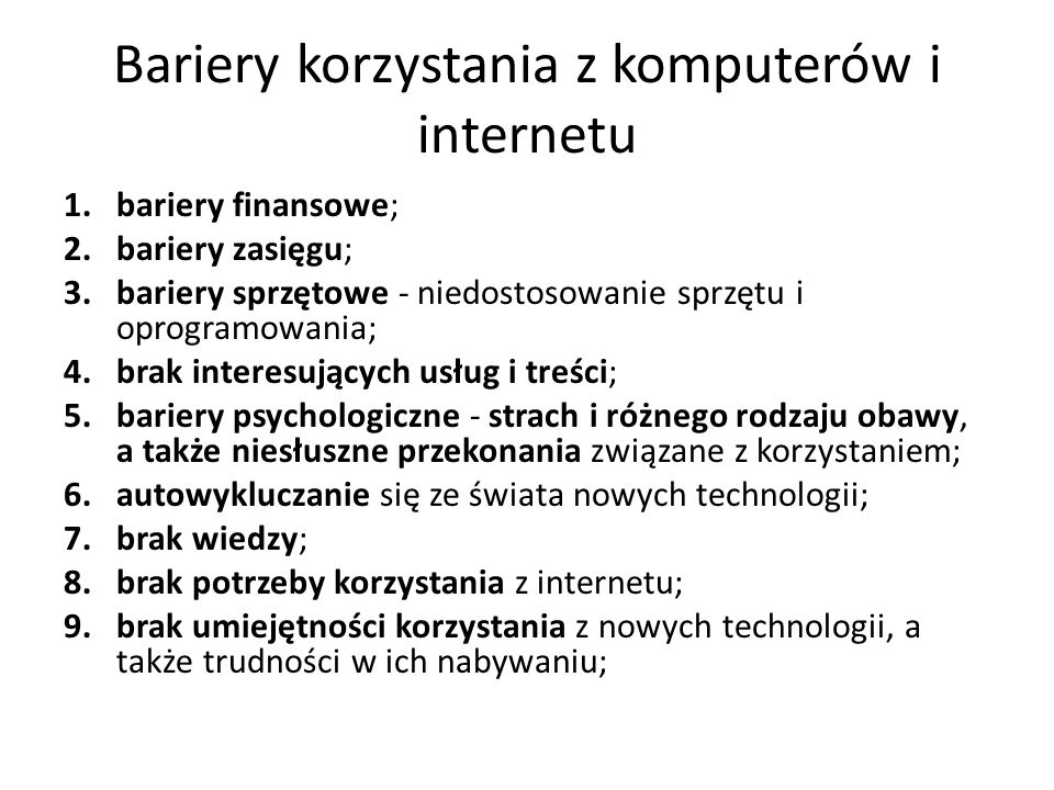 Bariery korzystania z komputerów i internetu