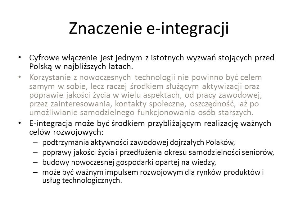 Znaczenie e-integracji