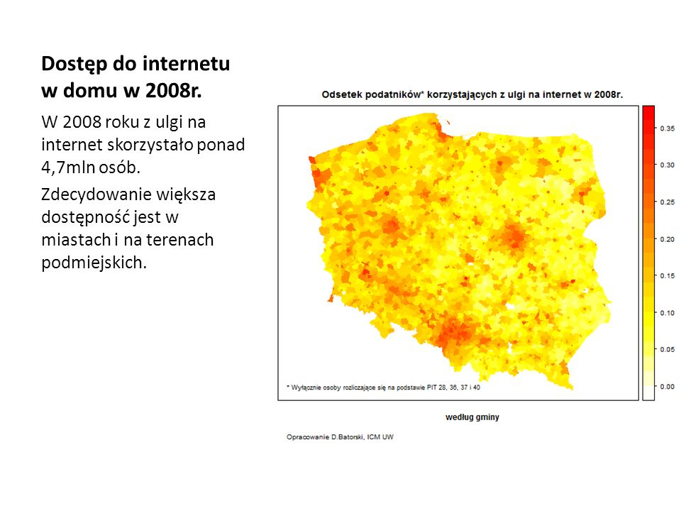 Dostęp do internetu w domu w 2008r.
